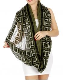 wholesale H03 Diamond geo border figure8 scarf Green