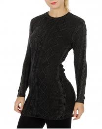 Wholesale O04 Long sleeve sweater dress Black
