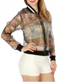 Wholesale K07 Long Sleeve Print Zip up Jacket Paris