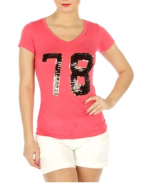 wholesale H17 Sequin embellished cotton T shirt Black