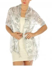wholesale B45 Lurex smile ani stripe shawl White/Black