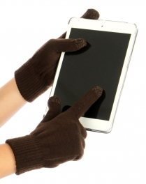wholesale O21 Touchscreen wool blend gloves Brown