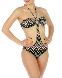 wholesale K18 zigzag print one piece swimsuit Black