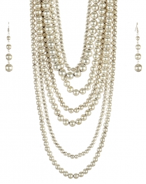 wholesale Long chunky pearl necklace set SB fashionunic