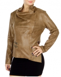 Wholesale N09C Chic Faux Leather Jacket Mushroom