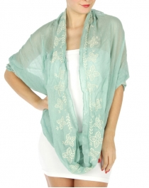 wholesale G26 Embroidered infinity scarf Mint