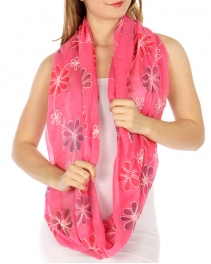 wholesale K00 Embroidery flower infinity scarf Fuchsia
