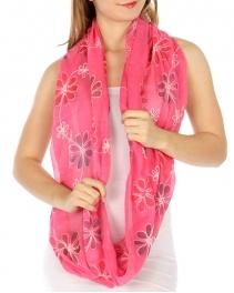 wholesale K00 Embroidery flower infinity scarf Fuchsia