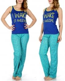 Wholesale K85 I WAKE UP AWESOME tank & PJ pants set Blue