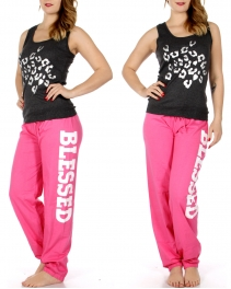 Wholesale K92B BLESSED tank & PJ pants set Charcoal/Pink