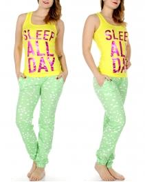 Wholesale T32B SLEEP ALL DAY tank & jogger PJ pants set Yellow