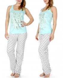 Wholesale T36C QUEEN BEE tank & PJ pants set Mint