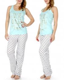 Wholesale T36C QUEEN BEE tank & PJ pants set Mint