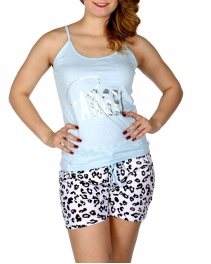 Wholesale Q17-1C ANGEL animal print PJ tank & shorts set Blue