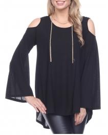 Wholesale K62C Cold shoulder bell-sleeve tunic BLACK