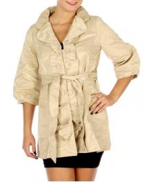 Wholesale N16E Pin Tuck Collar Shirring Jacket BEIGE