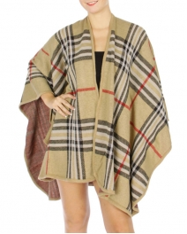 Wholesale S08B Designer Inspired Checked Rayon Cape Beige