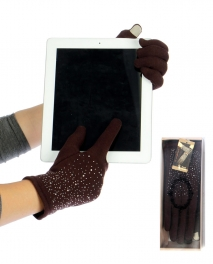 wholesale H38 Rhinestone fleece thermal touch screen gloves Brown