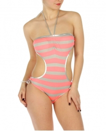 wholesale K20 Striped silver trim swimsuit Grey/Coral