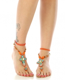 wholesale N46 Beaded cross anklet Orange fashionunic