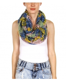wholesale K50 Multi allover flower infinity scarf Red