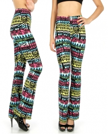 Wholesale B14 Colored aztec softbrush flare leggings