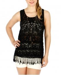 Wholesale O09D Cotton crochet feel fringe top Black