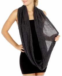 wholesale O51 Fishnet solid knit infinity scarf BK