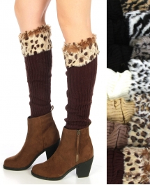 wholesale N14 Animal pattern faux fur top leg warmer Dozen