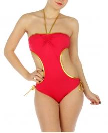 wholesale K16 Gold trim cut out swimsuit FS/Gold