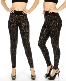 Wholesale E28 Zebra foil print leggings Bronze