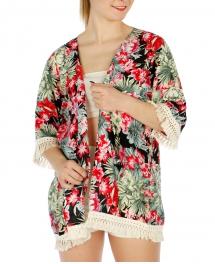 Wholesale I14B Floral kimono cardigan BK