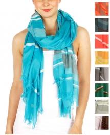 Wholesale I32D Combination Stripe Scarf Blue