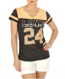 wholesale 1542 Metallic cotton short sleeve top Peach