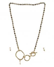 wholesale Arrow studs on loops necklace set WG/RH fashionunic