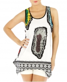 Wholesale M01 Feather rhinestone loose tank GY/PP