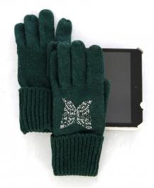 wholesale L33 Wool blend touchscreen butterfly gloves Green