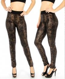 Wholesale E34 Snake foil print leggings Bronze