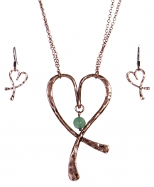 Wholesale WA00 Hammering heart & stone pendant necklace set CB