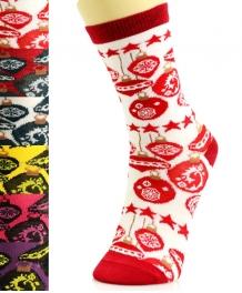 wholesale K58 Dozen ornament print crew socks