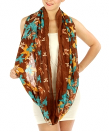 wholesale I33 Multicolored floral print scarf Brown