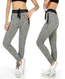 Wholesale K38 Faux leather zip marled jogger pants BK