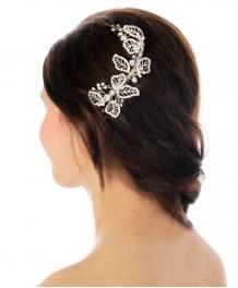Wholesale N35 Crystal leaf hair comb Silver fashionunic