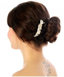 Wholesale N35 Pearl leaf hair barrette Silver