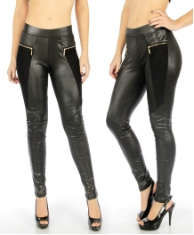 wholesale Laced zip pastel leggings Black Large fashionunic