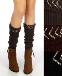 wholesale Studded top ribbed leg warmers Dozen