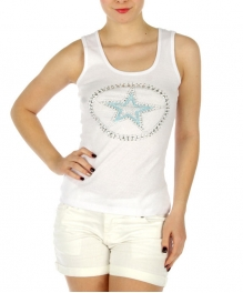wholesale G23 Stud star embellish cotton tank top WH