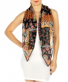 Wholesale H36D Abstract skinny scarf BK
