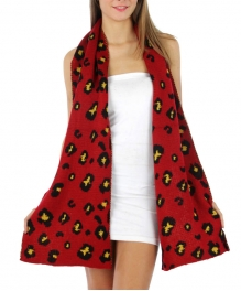wholesale M00 Reversible puppy knit scarf Red/BK