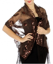wholesale H35 Sequin floral border bead shawl Brown
